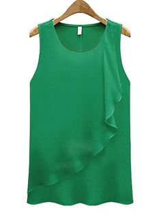 blusas women blouses blusa cheap clothes china blouse tops roupa feminina summer chiffon sleeveless o-neck green ropa Chiffon Shirt, Sleeveless Blouse, Chiffon Tops, Chiffon Ruffle, Mode Hijab, Dress Sewing Patterns, Women's Fashion Dresses, Pull, Blouse Designs