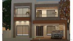 240 sq yards house plans has elegant design with 3 bedrooms and attached bathrooms. 240 sq yards floor plan has 2 garage bay and beautiful lawn. It has one servant quarter with bathroom and separate path.