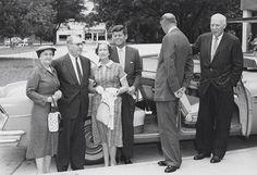 1957. Jfk. Commencement at University of Georgia. From Left to Right: Mrs. O.C. Aderhold, O.C. Aderhold, Mrs. Robert B. Troutman, John F. Kennedy, Mr. Eugene Black, Mr. Robert B. Troutman