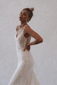 Minimal Wedding Dress, Wedding Dress Trends, Bridal Wedding Dresses, Dream Wedding Dresses, Sheath Wedding Gown, Backless Wedding, Alta Moda Bridal, Bridal Boutique, Marie