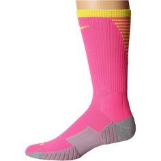 Nike Stadium Football Crew (Pink Blast/Volt/Volt) Crew Cut Socks (1540 RSD) ❤ liked on Polyvore featuring intimates, hosiery, socks, crew length socks, pink hosiery, moisture wicking socks, crew length compression socks and pink socks