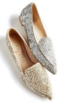 Silver and gold glitter flats | Sole Society Cammila