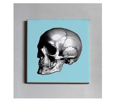 #Baldosa de cerámica con reverso en goma negra. 10x10 cm. 13,50€ c/u. #TUTÍA #Tile #Barcelonadesign #skull #calavera