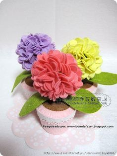 Bom de Fazer: Vaso e flores em feltro
