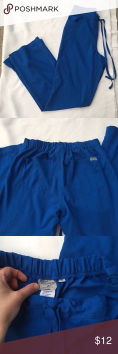 grey's anatomy/ scrub pants In EUC! Royal blue; super handy back pockets. Elastic waist in back with draw string in front. No tears, smells or stains!! grey's anatomy Pants
