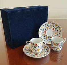 Gural Porselen Turkish Floral Demitasse Espresso Cup and Saucer Set Velvet Case   eBay