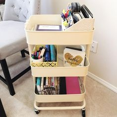 How this one organizing product simplified my life forever more Mobile Office Ikea Raskog Cart at I'm an Organizing Junkie – it simplified my life! Ikea Storage, Office Storage, Office Organization, Entryway Storage, Storage Ideas, Ikea Raskog Cart, Diy Rangement, Mobile Office, Closet Designs