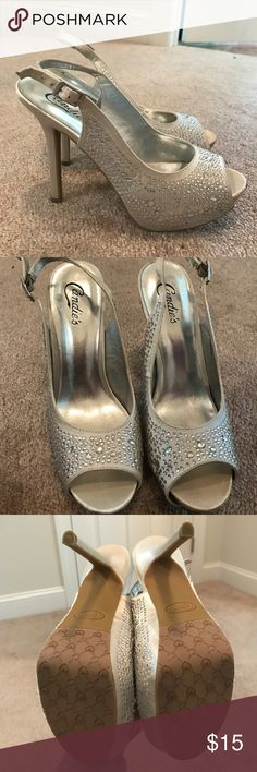 Size 8 1/2 Medium Candie's Jeweled Heels Silver with lots of silver beading. Candie's slingback heels. Worn once indoors, excellent used quality. Candie's Shoes Heels