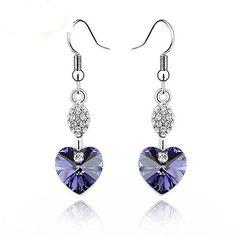 925 Sterling Silver Heart Crystal Dangle Earrings Shiny Rhinestone Long Drop Earrings Wedding Jewelry