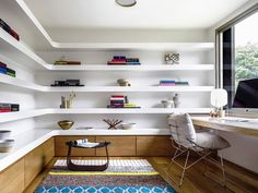 Home office shelving desig by Luigi Rosselli Architects and Alwill Interiors. Photo by Justin Alexander.