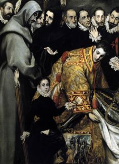 El Greco The Burial of the Count of Orgaz - detail , Santo Tome, Toledo. Read more about the symbolism and interpretation of The Burial of the Count of Orgaz - detail 4 by El Greco. Spanish Painters, Spanish Artists, Famous Artists, Great Artists, Greek Art, Renaissance Art, Love Painting, Art Reproductions, Les Oeuvres