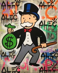 Monopoly Street Art with Money Bag