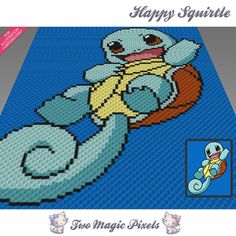 Happy Squirtle inspired crochet blanket pattern; knitting, cross stitch graph pdf download; pokemon; no written counts or row instructions