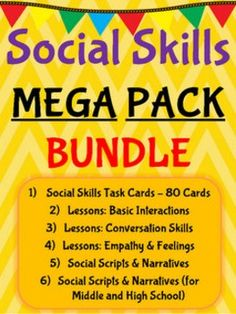 Social Skills Mega Pack Bundle!What You GetThis bundle includes a total of 177 pages aimed at teaching, discussing, and practicing social skills. Social skills can be taught by a regular education teacher, special education teacher, school counselor, psychologist, or social worker.