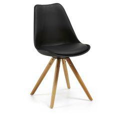 Chaise Ralf, naturel et noir