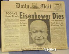 Newspaper front page announcement of former President Dwight David Eisenhower's death