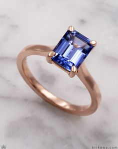 This perfect solitaire design will showcase any diamond or gemstone to perfection. Don't let the simplicity fool you; we'll still craft it perfectly for your stone shape and size. Each time we make it, we make it from scratch, just for you. Simple Elegance, Elegant, Emerald Cut, Precious Metals, Cool Style, Gold Rings, Sapphire, Rose Gold, Engagement Rings