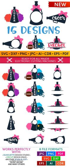 large cheer svg bundle  20 cheerleading cuttable designs  cheerleader silhouette svg  pom poms