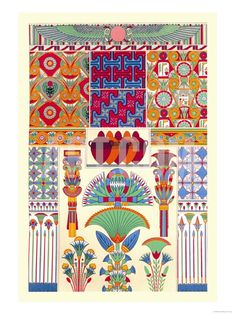 Egyptian Decor Premium Poster by Racinet at Art.com