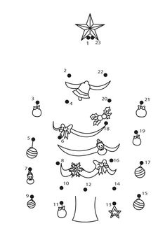 Put the Xmas Tree up printable connect the dots game. Do you like Christmas dot to dot? You can print out this Put the Xmas Tree up printable connect the . Christmas Worksheets, Free Christmas Printables, Christmas Activities, Christmas Colors, Kids Christmas, Connect The Dots Game, Dot To Dot Printables, Theme Noel, Printed Pages