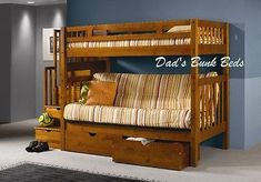 STAIRWAY LOFT BUNK BED WITH FUTON DESIGN - TWIN OVER FULL FUTON - HONEY FINISH I NEED A LOFT BED THAT COUCH COULD BE A REVERSIBLE COUCH AND BED