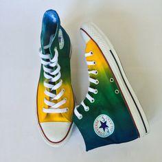 Bride Converse, Tie Dye Converse, Studded Converse, Custom Converse, Custom Shoes, Converse Shoes, Converse High, Painted Sneakers, Hand Painted Shoes