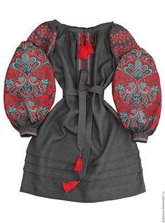 "Купить Платье-вышиванка ""Цвіт Папороті"" - серый, орнамент, вышивка, платье, вышитое платье, Вышиванка"