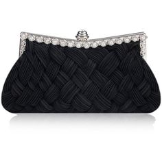 Damara Women's Braided Rhinestone Wedding Evening Bridal Bridesmaid... ($20) ❤ liked on Polyvore featuring bags, handbags, clutches, evening handbags clutches, bridal purses clutches, bridal clutches, hand woven bags and purple purse