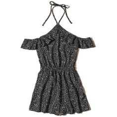 Hollister Ruffle Cold Shoulder Romper ($40) ❤ liked on Polyvore featuring jumpsuits, rompers, black floral, ruffled rompers, beach romper, floral romper, cold shoulder romper and beach rompers