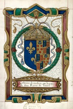 Armorial leaf from Aix-en-Provence, Biblio. mun., ms. 0638, p. 004.  Features the coat of arms of Catherine de Medici, Queen Consort of France
