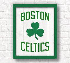 "Boston Celtics - rustic wall hanging 16""x20"" handmade sign - Celtics wall sign for Boys room or Man cave decor - Boston sports fan"