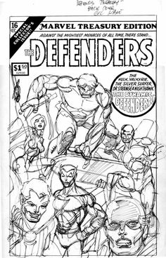 Comic Art For Sale from Coollines Artwork, KANE, GIL - Marvel Treasury #16 prelim Back Cover, The Defenders by Comic Artist(s) Gil Kane