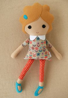 Fabric Doll Rag Doll Girl in Retro Floral Dress and Blue Shoes
