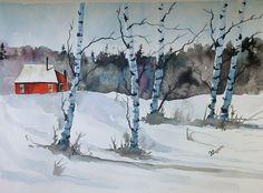 Acquerello originale di pittura pittura originale di pinetreeart