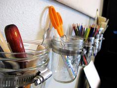 DIY - wall mounted mason jar organizer