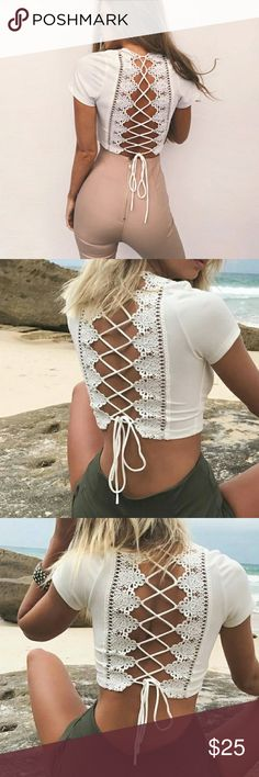 JUST IN! Lace Up Crop Top | White Lace Up Crop Top Available Sizes S M L Colors Pink and White *See Seperate Listing* MK Boutique Tops Crop Tops