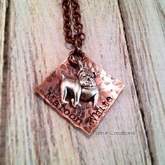 Maroon & White Hand stamped Square Necklace, MSU Bulldogs, College Gameday Dress, Football Necklace, bulldog charm on Etsy, $28.00