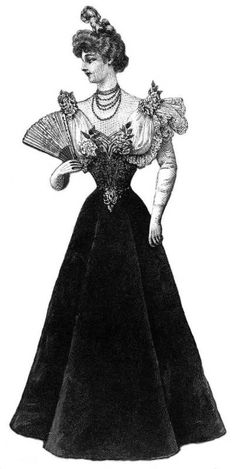 Velvet Gown With Embroidered Waist From Harper's Bazar January 2, 1897