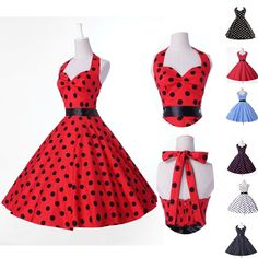 Multi Style 50s 60s Vintage Polka Dot Swing Jive Looove the colors! just wish it didn't flare quite so much and I'd buy it as an everyday type dress!