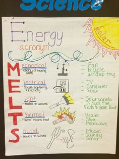 Energy Acronym (MELTS) Anchor Chart for 4th grade science This is a anchor chart I created for my 4th grade science lesson over energy. It includes the acronym MELTS to help the students remember the 5 different types of energy.