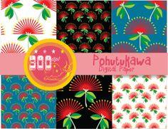 Scrapbooking!!  6 papers Christmas digital paper 'pohutukawa' red flower by GemmedSnail, $2.00