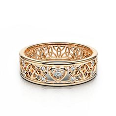 Rose Gold Diamond Ring Gemify Eternal Celtic Heart Love Band