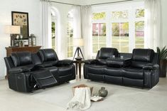 2 Pc Homelegance Oriole Black Airhyde Match Reclining Sofa Loveseat Set 8334blk