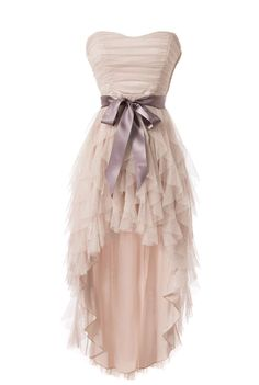 champagne high-low prom dress