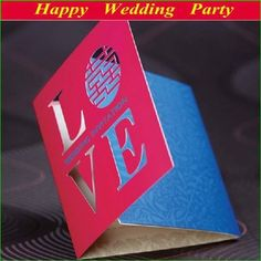 Elegant Laser Cut Fuchsia Xi Love Wedding Invitations Cards 2014 Korean Wedding Cards free personalized printing Wedding Favors