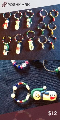 Wine glass charms Handmade wine glass charms for the holidays. 6 snowmen, 6 lightbulbs. Make great stocking stuffers. Other