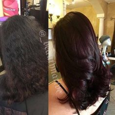 "Cherry Chocolate--4 oz 5vr .5 oz blue booster .5 oz red booster w/ 30 vol. (mid shaft to ends) 1.5 oz 5vr 1"" ribbon blue booster 1"" ribbon red booster w/20 vol ( on scalp) #matrix #socolor by kara"