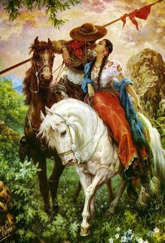 Okay it's romantic. But I'm distracted by those beautiful horses. [artist:Jesús Helguera ]