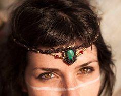 Macrame and Turquoise Headpiece, Tribal Tiara, Fairy Jewelry, goddess head piece