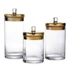 Store your favorite candies, pastas or dried goods in these versatile glass canisters. This set of three canisters comes in a clear composition with options for either goldtone or silvertone lids.